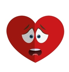worried heart cartoon icon vector image
