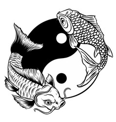 Yin yang koi fish art vector