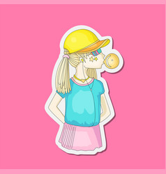 young teen girl in a baseball cap with headphones vector image