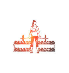young woman in sportswear working out with barbell vector image