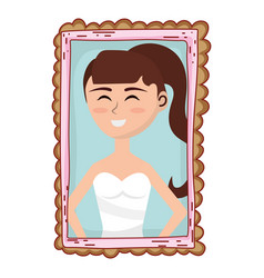 young woman portrait cartoon vector image