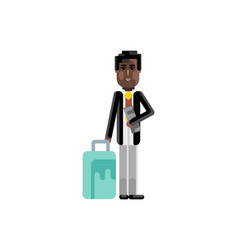 Black man with travel bag and ticket in hands vector