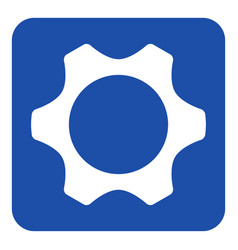 Blue white information sign - cogwheel icon vector