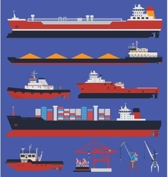 Cargo ships infographic vector image vector image