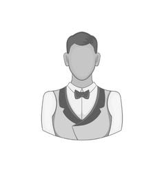 Casino croupier icon black monochrome style vector image