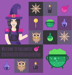 halloween witch with cauldron vector image vector image