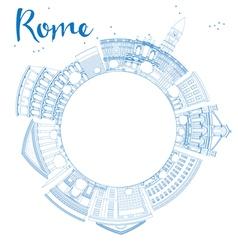 Outline Rome skyline with blue landmarks vector image