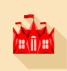 red ancient castle palace icon flat style vector image vector image