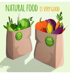 Vegetables in bags emblem vector image vector image
