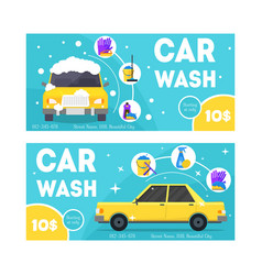 car wash service banner card set vector image vector image