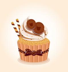 cupcake chocolate brown vector image