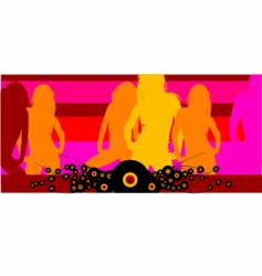 disco club girls background vector image vector image