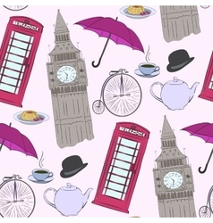 hand drawn London pattern vector image vector image