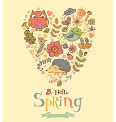Hello Spring banner in doodle style vector image vector image