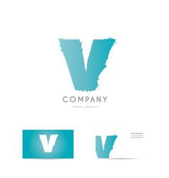 v blue letter alphabet logo icon design vector image