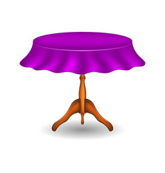 wooden round table with purple tablecloth vector image vector image