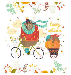 cute bear riding a bicycle with sleeping cub vector image vector image