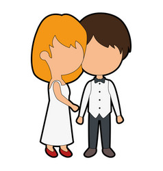 cute couple just married vector image vector image