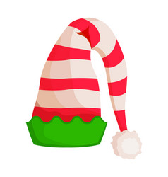 elf striped hat with green wavy trim isolated vector image
