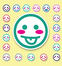 emotion faces icons set vector image vector image
