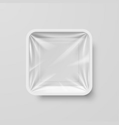 Empty white plastic food square container on gray vector