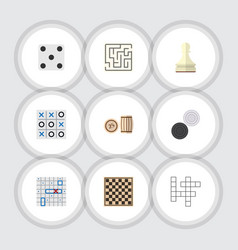 Flat icon entertainment set of chequer chess vector