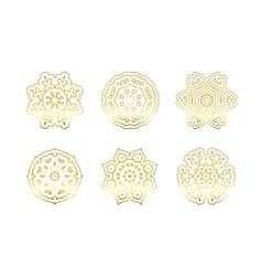 Oriental gold pattern Golden snowflakes set vector image vector image