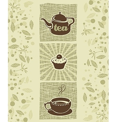 Tea and cookie vector image