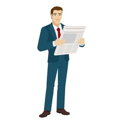 Businessman with newspaper vector image vector image