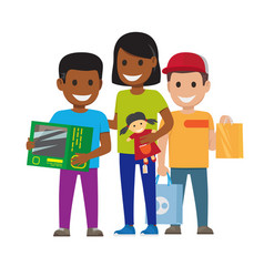 cartoon set of smiling family who goes shopping vector image
