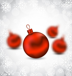 Christmas background with red glass balls and vector image vector image