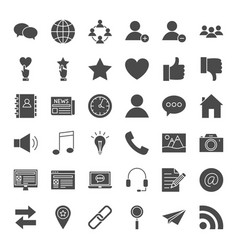 social media solid web icons vector image vector image