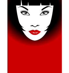 woman with red lips and bob hairstyle vector image vector image