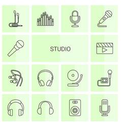 14 studio icons vector