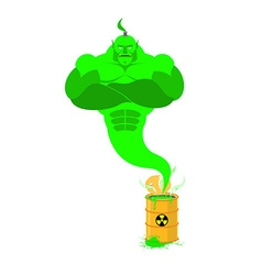 Acid Genie of barrels of toxic waste Green Magic vector image