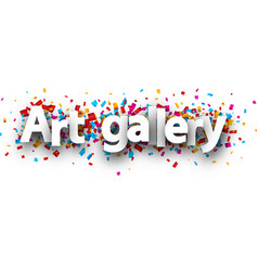 Art gallery banner with colorful confetti vector