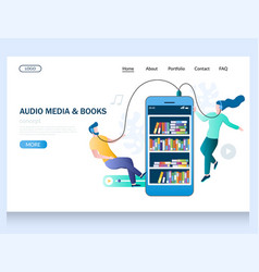 audio media and books website landing page vector image