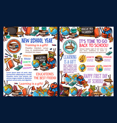 back to school sketch poster for education design vector image