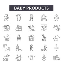 baproducts line icons signs set vector image
