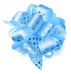 Big bow made of ribbon in polka dots vector