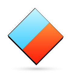 Blue and orange color icon clear template cube vector