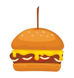 burger served in restaurant or diner fastfood vector image