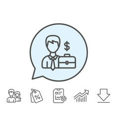 Businessman with case line icon vector