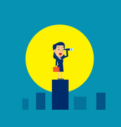 businesswoman looking and searching moonlight vector image