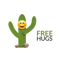 cactus free hugs print funny cute vector image