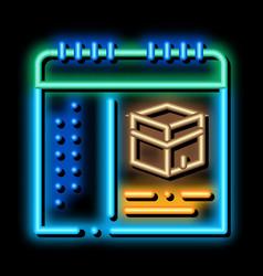 Calendar time visiting kaaba neon glow icon vector