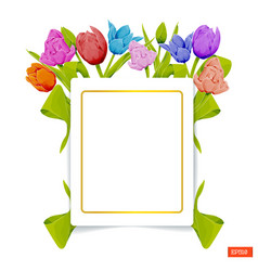 card template in the frame of multicolored tulips vector image
