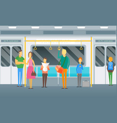 cartoon people standing in subway train card vector image