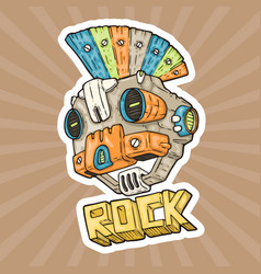 cartoon punk-rock music robot vector image