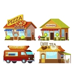 Cartoon Storefronts Set vector image